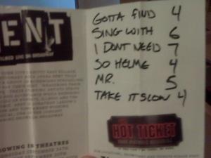 the setlist - written on my RENT flyer